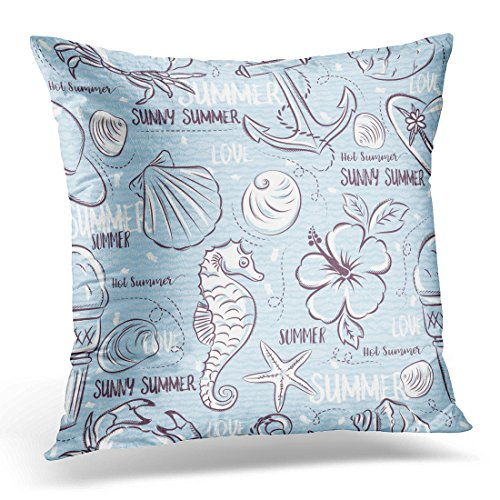 Emvency Throw Pillow Cover Beach Patterns with Summer Symbols Shells Crab Hat Anchor Sea Horse Ice Cream Flower on Blue Grunge Clams Decorative Pillow Case Home Decor Square 18x18 Inches Pillowcase (Soft Shell Season Crab)