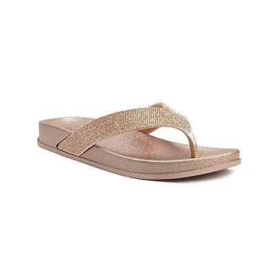 REDVOLUTION Women's Rhinestone Sandals Soft Platform Footbed Midsole Fashion Flip Flop | Flip-Flops