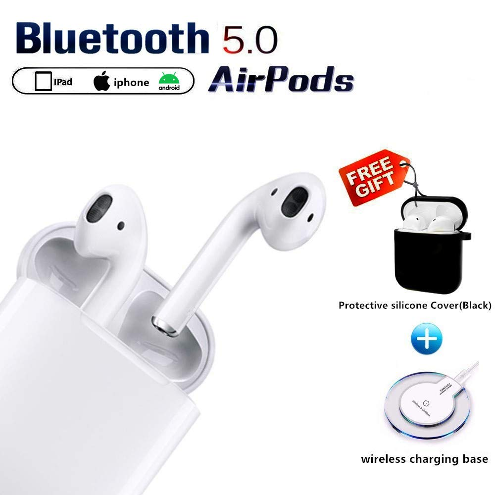 Bluetooth Headphones Wireless Earbuds with Wireless Charging Box Noise Reduction HD Stereo in-Ear Earbud for Android iPhone airpod and Apple airpods 2 airpod 2 Waterproof Sports Earphones