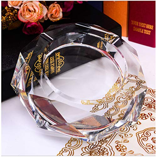 (Cosy-Yc K9 Crystal Ashtray, Elegant Ashtray for Table, Highly Transparent Ashtray for Outdoor, Good Housewarming Gift with Retail Package (Octagonal)