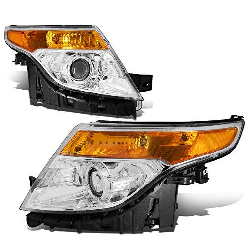 For Ford Explorer 5th Gen U502 Pair of Chrome Housing Amber Corner Projector Headlight