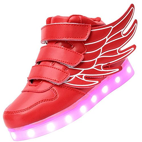 luckfugui Kinderweihnachtskleinkind-Mädchen-Mädchen LED beleuchtet Schuhe 11 Farben-hohe Spitzen-blinkende Turnschuhe kühles Licht, Hiphop-Schuhe, Straßentanz-Schuhe rot