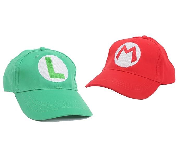 35222dd6700 2PCS Super Mario Bros Luigi ADULT Hat Cap Costume cosplay Halloween ...