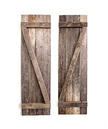 "BarnwoodUSA | 36"" Rustic, Decorative Wood Window Shutters, 2-Pack | 100% Up-cycled Reclaimed Wood -  - living-room-decor, living-room, home-decor - 51CdtdEeKUL -"