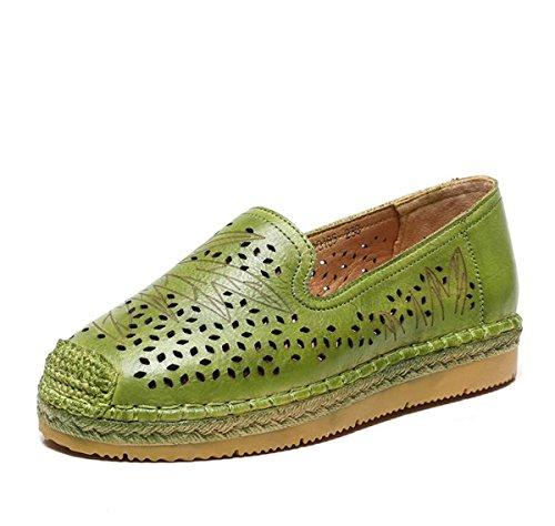 Primavera Zapatos la el Zapatos para Huecos Otoño Suelas Plano y Suaves de Cómodas Zapatos Hechos Mano Cuero de Verde Verano Tacón Mujer a de xPwRaqTXU