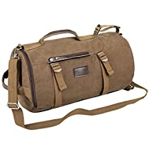 Eshow Mens Canvas 4 Ways Retro Weekend Overnight Outdoor Hiking Camping Cylinder Bag Travel Duffel BagBrown