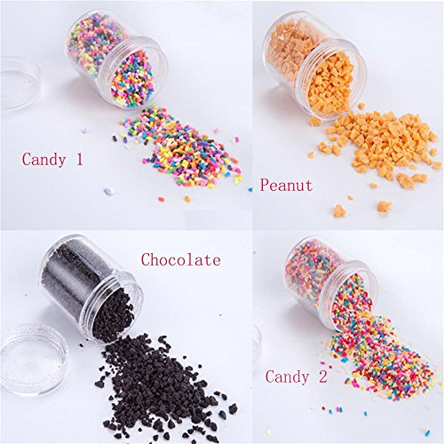 Jimess 4 Packs Colorful Fake Candy Sweets Sugar Sprinkles Decorations for Fake Cake Dessert Simulation Food and DIY Polymer Clay Toys Slime making Accessories