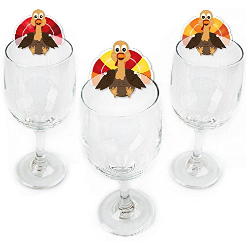 Thanksgiving Glass (Thanksgiving Turkey - Shaped Fall Harvest Thanksgiving Wine Glass Markers - Set of 24)