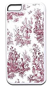 Bohemian Toile Pattern-BURGUNDY -Soft White Rubber Snap - On Case -APPLE IPHONE 4s ONLY Great Quality!