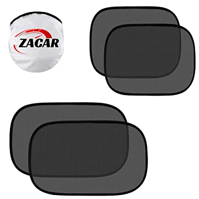 "ZACAR Car Window Shade (4 Pack), Baby Car Sun Shade, Cling Baby Shade for Car - 80 GSM Car Sun Shade - Protect Your Baby with Back Window Sun Shade,2 Pack 20""x12"" and 2 Pack 17""x14"" for Side Window: Automotive"