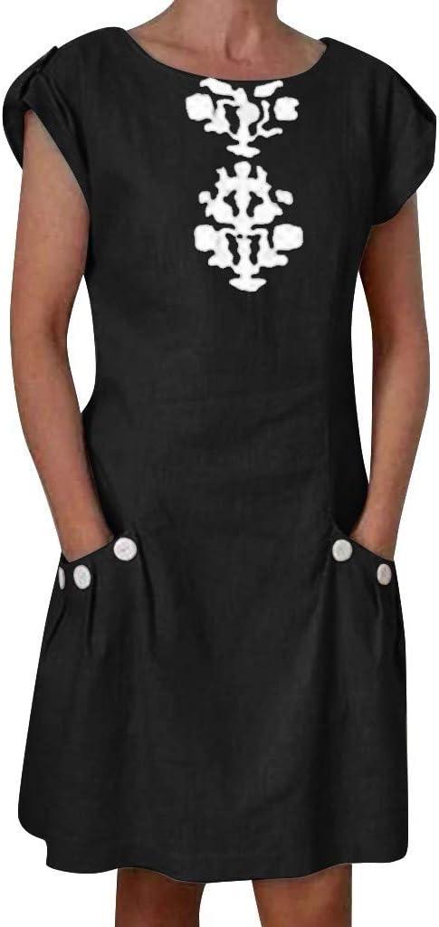Reooly Mini Vestido de Lino con Falda Casual para Mujer, botón de ...