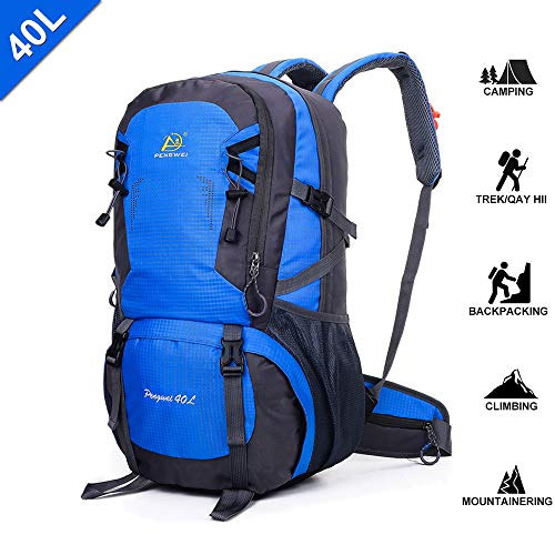 Camping Hiking Daypacks - 40L Travel Hiking Backpacks - Sports Hiking Rucksack - Outdoor Mountain Climbing Backpack Knapsack with Buckle Whistle & Shoes Compartment for Trekking Camping Cycling - Blue by SpringOrchid
