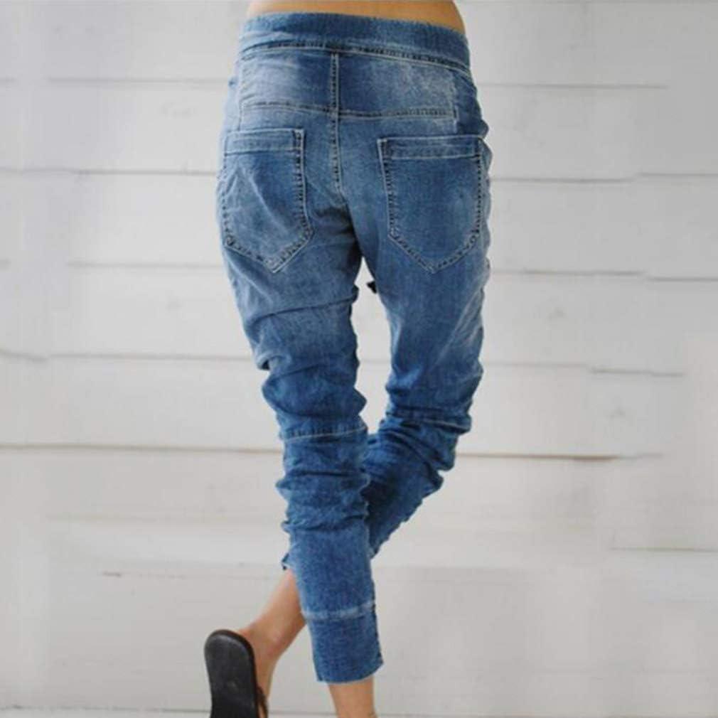 kunfang Donna Harem Jeans Elastico Vita Faded Pantaloni Denim Comode Vita Alta Jogger Pants in Vita Azzurro Blu Scuro S M L XL XXL XXXL