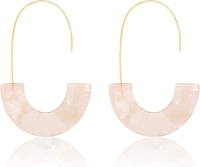 WhiteMulti Colored Round Earrings NEW!! Fun Statement Earrings Geometric Acrylic Resin
