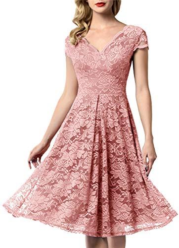 a09811f6191 AONOUR 0052 Women s Vintage Floral Lace Bridesmaid Dress Wedding Party Midi  Dress Cap Blush S