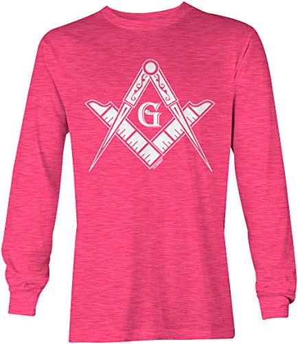 State Logo Square - Freemason Logo - Square & Compass Symbol Long Sleeve Men's Shirt (Pink, XXX-Large)