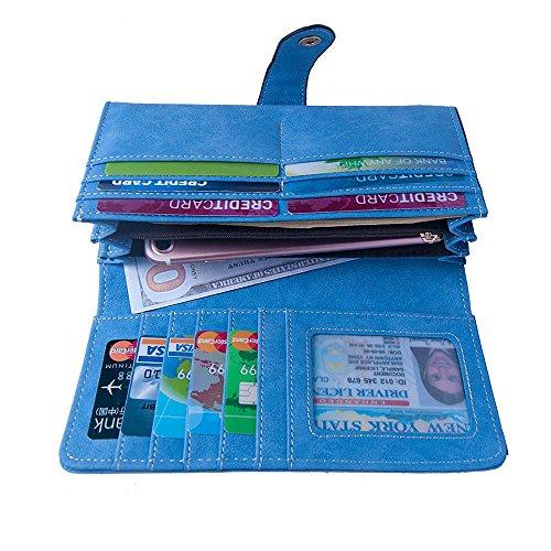 Talendi Women's Vegan Leather Credit Card Holder Wallet Large Capacity Long Bifold Checkbook Wallet (Bright Blue)
