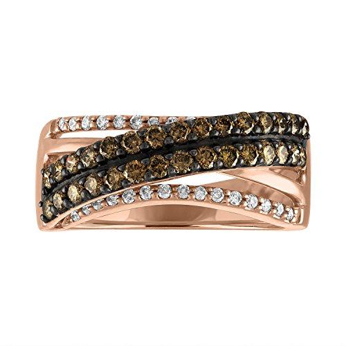 Sweet Treasures VSSR667 14K Rose Gold Natural 3/4cttw Round Cut White (SI1 -SI2) & Champagne Diamond (SI1 -SI2) Ring Size 7 (7, - Diamond Champagne Natural Ring 14k