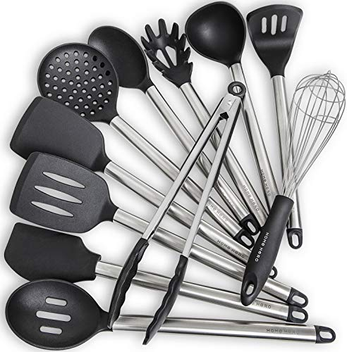 Home Hero 11 Silicone Cooking Utensils Kitchen Utensil Set – Stainless Steel Silicone Kitchen Utensils Set – Silicone…