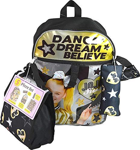 JoJo Siwa Gold & Black ''Dance Dream Believe'' Super 5-Piece Backpack & Lunch Bag Set by Karacter Box