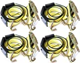 DKG-304 Yellow Heavy Duty Double J Hook Wheel Strap with Ratchet - Over Tire Wire Hook Car Hauler Tie Down - Auto Transporter Trailer Strap with Steel Ratchet - Working Load Limit of 3330 LB (4)