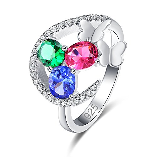 - Veunora Delicate 925 Sterling Silver Created 3-Stone Filled Butterfly Ring for Women Size 9