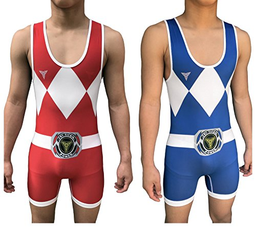 Power Tri Suit (Tri-Titan Power Reversible red and Blue Wrestling Singlet - Freestyle Greco Roman Folkstyle - Red and Blue Mens & Youths (Adult S: 125lbs-145lbs))