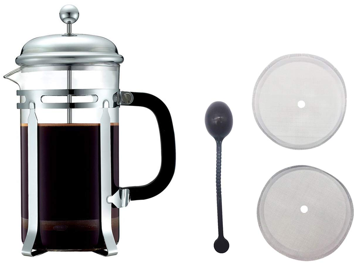 HEY~LIFE French Coffee Press - Stainless Steel Coffee Maker 34oz, 1L With 1 Spoon and 2 Filter