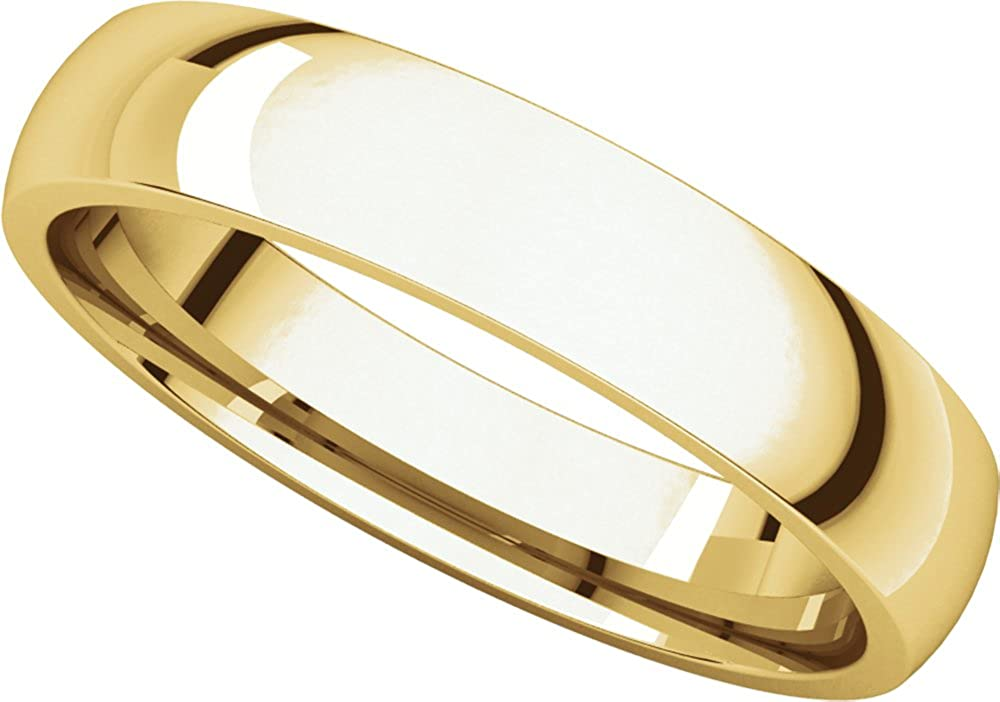 Mens 10K Yellow Gold 4mm Light Comfort Fit Domed Wedding Band Ring