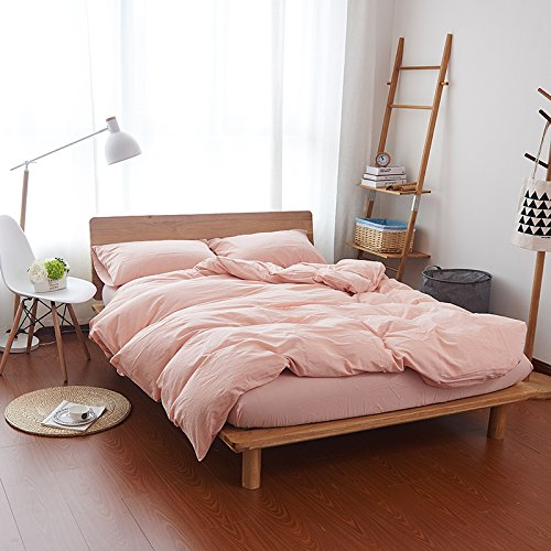 HOUSEHOLD Duvet Cover, Protects and Covers your Comforter/Duvet Insert, 100% cotton 3 Piece Duvet Cover Set Includes 2 Pillowcase (Pale Pink, (Rose Duvet)