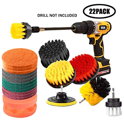 JOQINEER 22 Pcs Drill Brush Attachment Set for Cleaning – Power Scrubber Brush Pad Sponge Kit with Extend Attachment for…