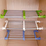 Hershii Closet Tension Shelf & Rod Expandable Metal Storage Rack Adjustable Organizer DIY Divider Separator for Cabinet Wardrobe Cupboard Kitchen Bathroom - 3 Colors