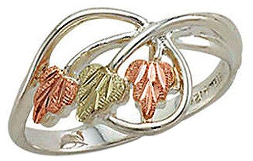 Landstroms Ladies Black Hills Silver Ring with 12k Black Hills Gold Leaves - MRLLR3068