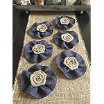 Set-of-Six-Burlap-Flowers-with-Navy-Burlap-Ruffle-Wedding-Cake-Topper-Baby-Boy-Shower-Gift-Wreath-Decor