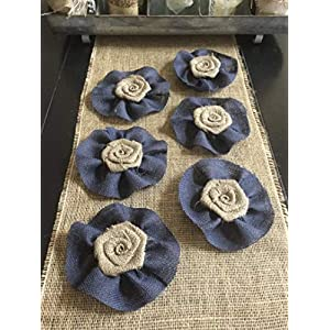 Set of Six Burlap Flowers with Navy Burlap Ruffle Wedding Cake Topper Baby Boy Shower Gift Wreath Decor 12