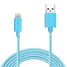 Lightning Cable, 6 Ft iPhone 6S Charger F-color Long Apple MFI Certified Nylon Braided Lightning to USB Cable for iPhone 6S 6 Plus 5S 5C 5 iPhone SE 2016, iPad Air 2 3 Mini 2 3 4 iPad Pro Blue