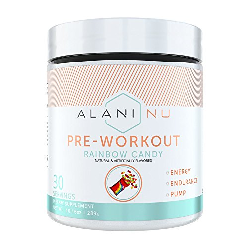 Alani Nu Pre Workout Powder w/Caffeine, L-Theanine & Beta Alanine, Rainbow Candy, 30 Servings