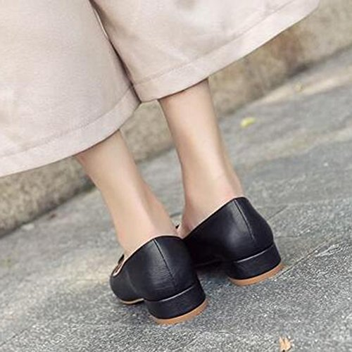 Toe Slip Chunky Low Elegant Black Heel Mid Womens Pumps Easemax Buckle On Shoes Square Top 0wfanqI