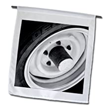Jos Fauxtographee Realistic - A Hub Cap on a Tire in Black and White - 12 x 18 inch Garden Flag (fl_57995_1)
