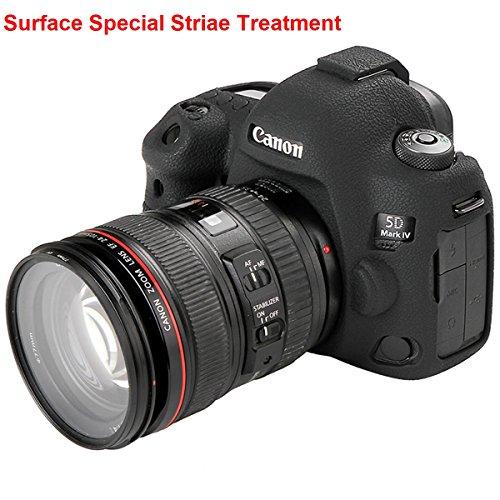 Canon 5D Mark IV Camera Housing Case, Professional Silicion Rubber Camera Case Cover Detachable Protective for Canon 5D Mark IV (Black)