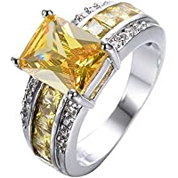 New Fashion Womens Jewelry 925 Silver Citrine Gemstone Wedding Engagement Ring (7)