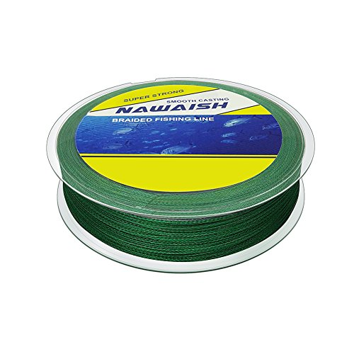 Nawaish Super Power Braided Fishing Line Abrasion Resistant Braided Lines Zero Stretch Smaller Diameter Abrasion Resistant Mono Line for Saltwater Moss Green 328-Yard/80LB 8 strands