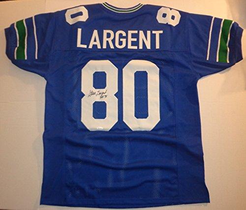 Signed Hand Steve Largent (Steve Largent · Hand Signed Seahawks Football Jersey w/ JSA COA)