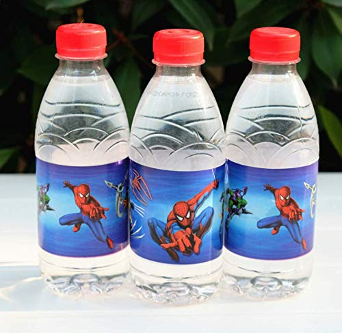 (Astra Gourmet Spiderman Bottle Wraps - 24 Superhero Spiderman Bottle Labels for Birthday Baby Shower Party Decorations)