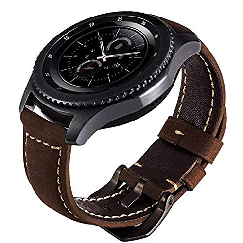 iBazal Gear S3 Watch Band 46mm, Gear S3 Frontier/Classic Band with Black Clasp Genuine Leather Replacement Watch Band for Samsung Gear S3 Frontier/Classic and Moto 360 2nd Gen 46mm - Coffee