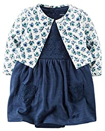 Carters 2 Piece Bodysuit Dress and Cardigan Navy Blue Lace Floral Girls (3M)