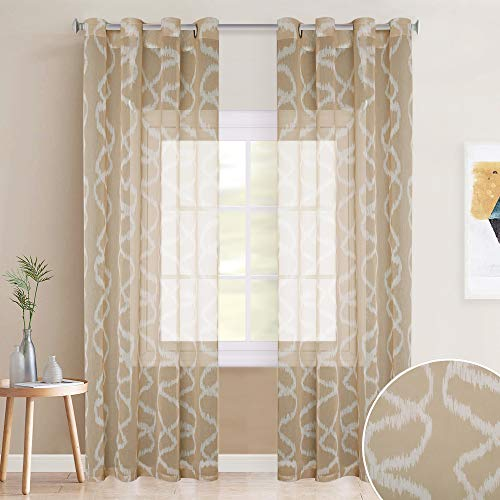 KGORGE Linen Textured Panels with Patterned - Grommet Top Country Style Design Translucent Sheer Drapes with Modern Ogee Pattern Printed for Sliding Door, 52