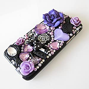 LU2000 3D Purple Ceramics Rose Flower Mix Pink Crystals Diamond Sparkle Bedazzled Jeweled [Anna Series] Bling Case for Iphone 8 (4.7 inch) All Version