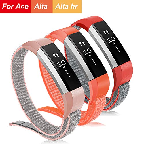 VEAQEE Compatible Fitbit Ace Nylon Bands, Kids Women Man Soft Nylon Breathable Watch Strap,Quick Release Replacement Wristband Accessories Compatible Fitbit Alta/Alta HR (3PCS w)