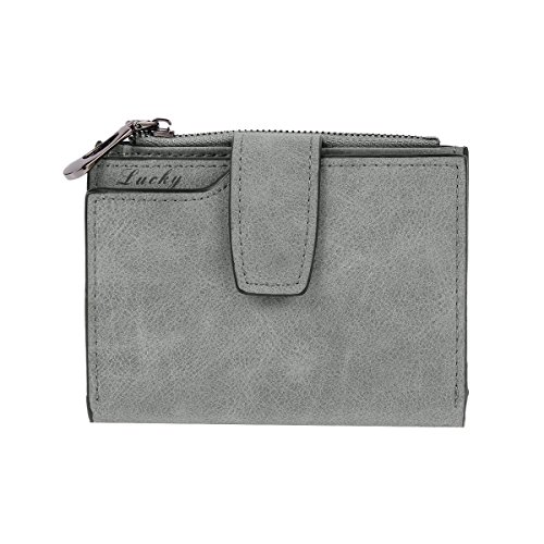 Medium Grey Leather (Damara Womens Medium Faux Leather Coin Purse Card Holder Wallet,Grey)